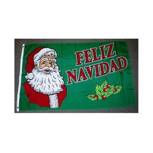 Feliz Navidad Флаг Рождеством Флаг Двойной прошитой Флаг 3x5 FT Banner 90x150cm партия подарков 100D Printed Горячий продавать!