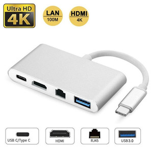4 in 1 USB 3.1 Typ C bis HDMI 4K RJ45-Port USB 3.0 USB 3.1 Konverter für Macbook HDTV für Huawei USB-C-Naben-Adapter