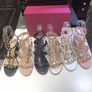 Frauen Designer High Heel 6.5cm 9.5cm verzierte Sandalen aus echtem Leder Sling Dame-reizvolle Pumpen-Wölbungs-Bügel-Gummisohle Chunky Heel Sandale