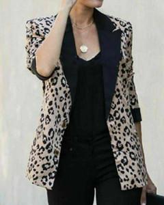 Leopardo delle donne Blazer modo delle signore vestito sottile del cappotto del rivestimento a maniche lunghe casuale