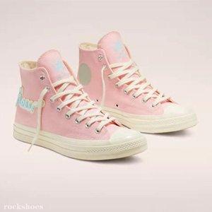 With Box Golf Le Fleur x Chuck 70 Canvas shoes 1970s Mens Womens All Star Skateborad Shoes Fashion GLF High Pink casual Sneakers 35-44