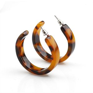 ANGELADY 1Pairs Acrylic Marbled Earring Leopard Round Hoop Earrings Women Tortoise Shell Jewelry