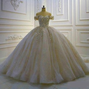2020 Luxury Ball Gown Wedding Dresses 3D Floral Appliqued Sequins Beaded Sweep Train Custom Made Weeding Gown Bridal Dress