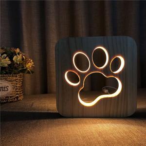 Lámpara de mesa con forma de pata de gato Novedad creativa Talla de madera maciza Hueco Luz de noche 3D Fuente de alimentación USB blanca cálida