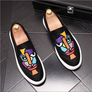New arrival brand men Wedding shoes high top genuine leather fashion casual Business dress shoes men printing sneakers D52