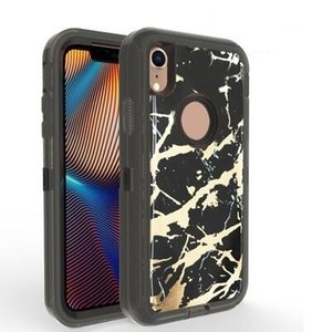 Hybird 3 in 1 Heavy Duty Derender Protective Phone cases Marble Shockproof full cover cellphone cover for iPhone 11promax XR XS MAX