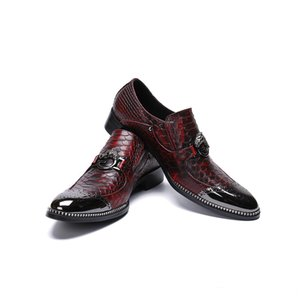 Moda uomo pelle di serpente modello in vera pelle uomo scarpe bullock intagliato scarpe da uomo scarpe da ufficio affari
