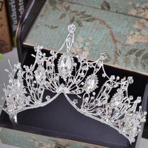 2019 neue große barocke handgemachte kristall prinzessin kronen für königin strass tiaras diadem hochzeit braut haarschmuck