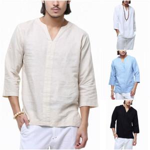 Hombres del verano del algodón de lino suéter de Soild del color Tops T 3/4 cuello en V Casual camiseta floja