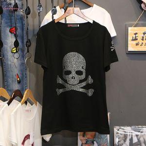 Caliente de perforación de impresión camiseta de manga corta de las mujeres ropa de verano 2020 nuevo de la manera suelta de algodón con capucha del cuello de O T Shirts C1042