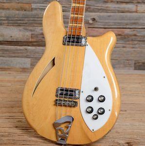 Custom Shop 1966 RICK 4005 Mapleglo 1967 4 cordes Crème naturelle Guitare basse électrique Semi Hollow Body Vintage jaune Signature Natural Bass