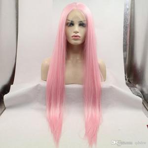스트레이트 화이트 여성 내열 섬유 헤어 하프 핸드 메이드 합성 레이스 프런트가 핑크 가발 핑크 Lacefront 가발 합성 머리 긴