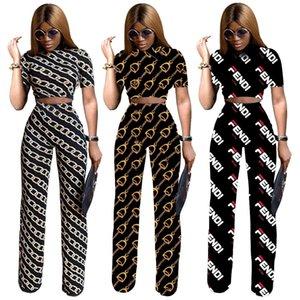 Hohe Taille Art und Weise Kurz-Art-Frauen-dünne freizeit Druck Swear Marke Designer Lady Crew Neck Leisure Suit Sexy Anzug
