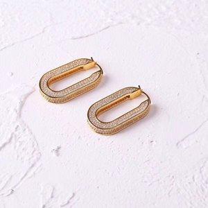 새로운 패션 간단한 광장 귀걸이 스터드 후프 골드 컬러와 실버 도금 도매 가격 무료 배송 PS5613
