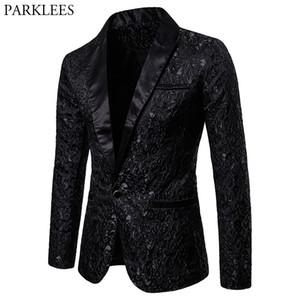 Black Jacquard Bronzing Floral Blazer Men 2018 Single Button Suit Jacket Men Wedding Party Stage Costume Homme 2XL