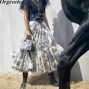 Diseño de pista largas maxi faldas para mujer 2019 verano nuevo tinta tótem bosque animales impresión volante flores plisadas jupe femme