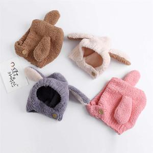 2019 Kış sevimli bebek erkek kız renk eşleştirme Peluş şapkalar çocuklar çocuk 4 renk tavşan kulak kapakları sıcak