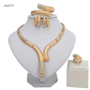 Venta al por mayor Fashion African Beads Jewelry Set Exquisite Dubai Gold-colorful Jewelry Set Brand Nigeriano Boda nupcial Bijoux
