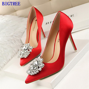 BIGTREE Silver Gray Black Women Bridal Wedding Shoes Faux Silk Satin Rhinestone Crystal Shallow Woman Pumps Stiletto High Heel Y200702