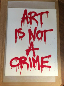ART IS NOT A CRIME 2011 BANKSY KAWS Art Home Decor Handpainted Oil Painting On Canvas Wall Art Canvas Pictures 200531