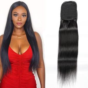 Индийский 100% человеческих волос Ponytails Straight норка Extensions волос 100г шелковистой прямой 8-24inch Ponytails Natural Black