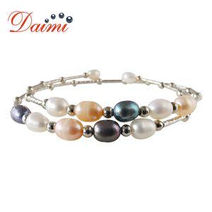 DAIMI Natural Pearl Bangle Bracelet White Black Pink Purple Bracelets Bangles For Women