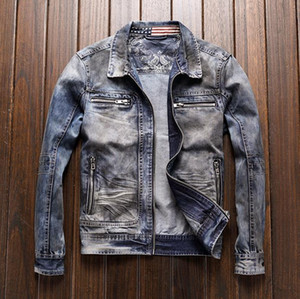 Giacca di jeans Truck BONJEAN Uomo Vintage Motorcycle Biker Retro Slim Fit denim cappotto Younger Jacket Meccanico Drop Shipping