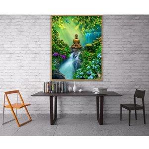 wholesale 5D Buddha Waterfall Mountain Bridge Flower Leaves Full Diamond Painting kits art Religion 3D paint by diamonds
