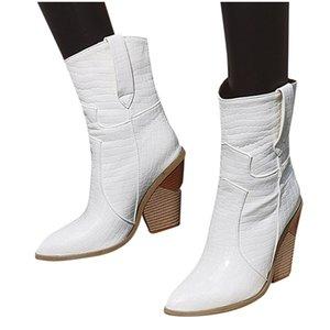 2020 осени зима новой Мода женщины кожа Non-Slip клинья обувь острого нос Cowboy пинетка женщины Толстые пятки ботинки # O19