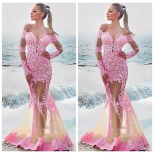 2021 reizvolle Nixe SpitzeAppliques dünne Abendkleider Sexy durchschauen lange formale Frauen besondere Anlässe Partei-Kleider Naher Osten Dubai