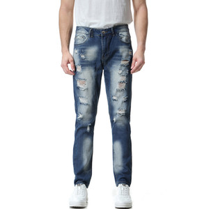 Casual Mens Designer Jeans Washed Hole Mill White Skinny Slim Fit Gran tamaño Summer Fashion Urban Wind Pants