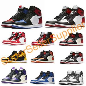 Nike air jordan 1 shoes Basketball Shoes шторм синий университет красный дизайнер баскетбольная обувь мужские тренеры Новый 2019 натуральная кожа кроссовки без коробки