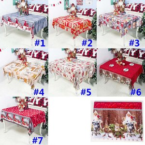 Noël Table Cloth Décorations de Noël Cartoon Nouvel An Polyester Imprimé Nappe Table des ménages Couverture 150 * 180cm HH9-2577