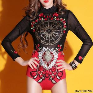 여자 연예인 단계 페르시 자수 바디 수트는 여성 가수 DJ 댄서 무대 의상 성능 착용 바디 수트를 점프 수트