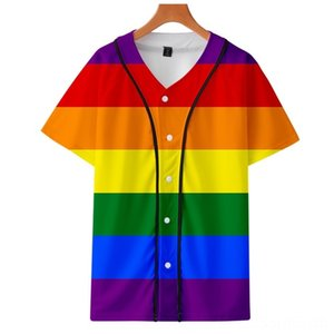 LGBT rainbow color 3D digital printing thin section Fitness Equipments Fitness Supplies summer thin section baseball shirt men and women spo