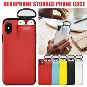 2 в 1 Чехол для телефона Ящик для хранения для iPhone 11 Pro Apple Airpods 1 2 Мягкие силиконовые крышки гарнитуры