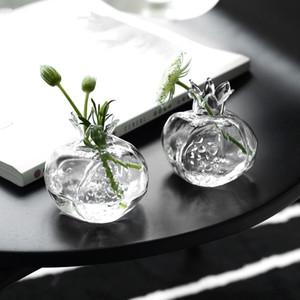 미니 석류 유리 꽃병 수제 꽃병 투명 유리 꽃 냄비 수경 꽃 정렬 공예 데스크탑 장식