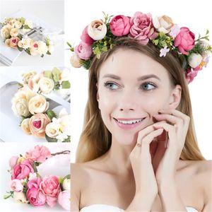 Fashion style Bridal wedding flower garlands Girl sunmmer holiday hair headwear beach photography accessory