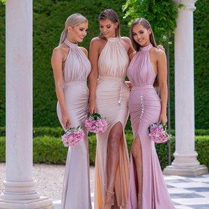 BLUS demoiselle d'honneur rose Robes de mariée sirène cou fille sexy de robes d'honneur robe de soirée invités avant de Split robes de mariage