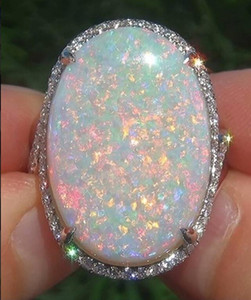 Grand 925 Sterling Argent Massif Pierre Gemme Naturelle Feu Opale Bague En Diamant De Mariage De Fiançailles Femmes De La Mode Bijoux