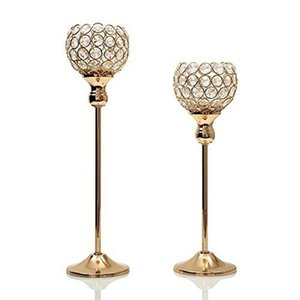 Crystal Tealight Candle Holders Metal Candlesticks Candelabras Stand Wedding Table Centerpieces Christmas Halloween Decoration