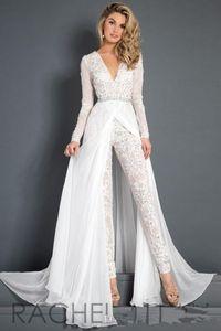 White Lace Chiffon Wedding Dress Jumpsuit com trem Modest V-neck manga comprida frisada Belt Flwy Saia Praia Casual Vestido Macacão nupcial 100
