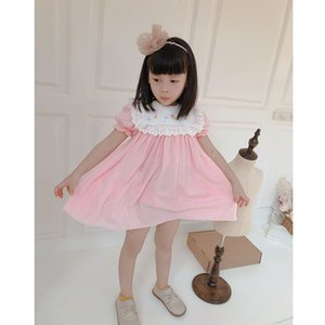 2020summer New Cute ребёнки Классическая Lace Восхитительная вышивка лук платье рубашка Baby Girl Толстовка Платье Kids для девочек