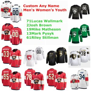 S-6XL Florida Panthers хоккейные майки 71 Lucas Wallmark Jersey 2 Josh Brown 19 Mike Matheson 13 Mark Pysyk Riley Stillman сшитые на заказ
