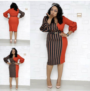 New Women Sexy Stripe Print Dresses Long Sleeve V Neck Casual Slim Bodycon Midi Dress Plus Size Women's Clothing A29