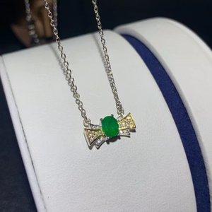 Pendant 925 Emerald Necklace argento CoLife Gioielli 4 * 5mm naturale smeraldo d'argento del pendente della pietra preziosa di moda