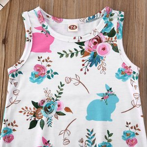 Easter Sleeveless Rompers Newborn Baby Girl Boy Easter Bunny Clothes Playsuit Sunsuit Outfit Set