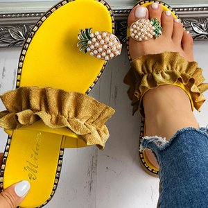 New Slippers Women Shoes Summer Beach Pineapple Flat Slippers Outside Slides Zapatos De Mujer Ladies Shoes String Bead Dropship