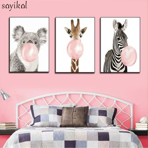 Pictures By Numbers With Frame DIY Painting By Numbers Animals For Children Zebra Koala Giraffe Balloon Christmas Decorations
