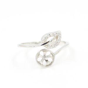 귀여운 새로운 잎 스털링 실버 다이아몬드 여성의 링 마운트 입 크기 조절 꽃 S925 DIY 보석 반지 결혼 반지 JZT018